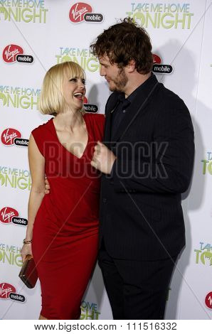 Anna Faris and Chris Pratt at the Los Angeles premiere of 'Take Me Home Tonight' held at the Regal LA Live Stadium 14 in Los Angeles on March 2, 2011.