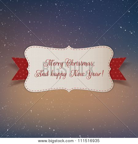 Christmas realistic white paper Label with Ribbon