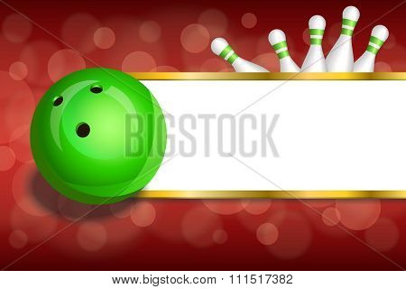 Background abstract red gold stripes bowling green ball frame illustration vector