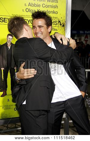 Colin Farrell and Sam Rockwell at the Los Angeles premiere of 'Seven Psychopaths' held at the Mann Bruin Theatre in Westwood on October 1, 2012.