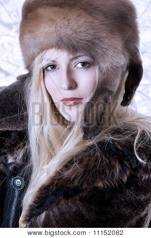 Fashionable Woman In Fur Clothes