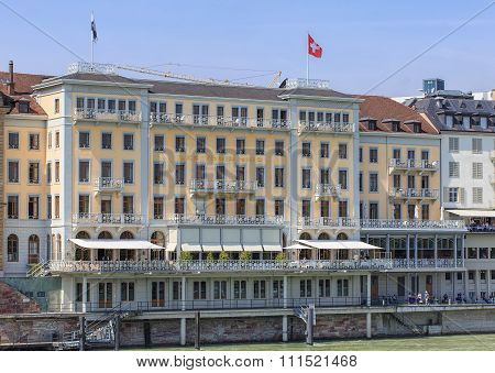 Facade Of The Grand Hotel Les Trois Rois In Basel