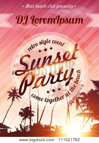 Sunset beach party vector pink poster template
