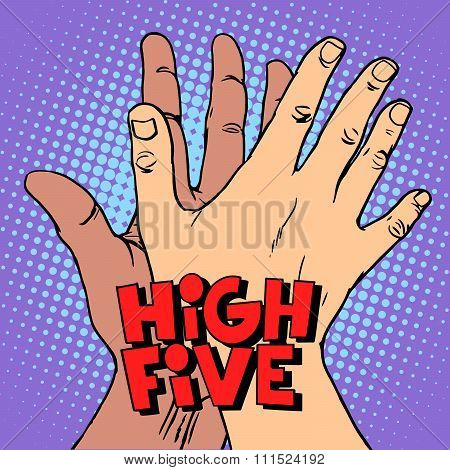 high five greeting white black hand