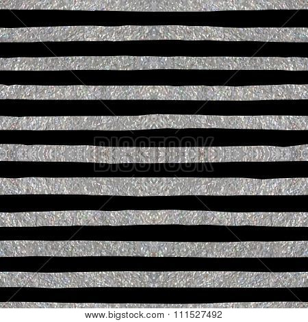 Silver textured seamless pattern of stripes.