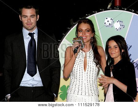 Chris Pine, Lindsay Lohan and Ali Lohan attend the Los Angeles Premiere of