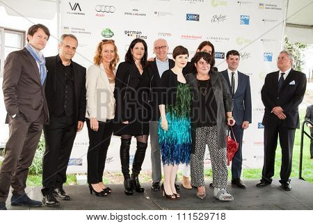 Crew of Citizenfour at the German Films and the Consulate General of the Federal Republic Of Germany's German Oscar nominees reception held at Villa Aurora in Pacific Palisades on February 21, 2015.