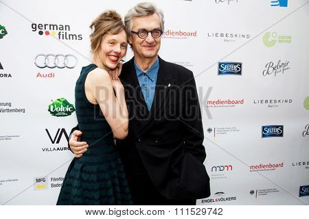 Wim Wenders and Donata Wenders at the German Oscar nominees reception held at Villa Aurora in Pacific Palisades on February 21, 2015.