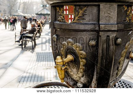 Ramblas water fountain Barcelona