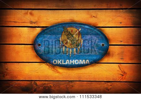 Wooden Oklahoma Flag.