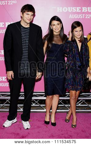 Ashton Kutcher and Demi Moore at the Los Angeles premiere of 'House Bunny' held at the Mann Village Theatre in Westwood on August 20, 2008.