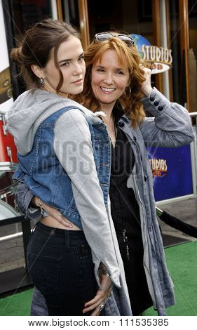 Lea Thompson and Zoey Deutch at the Los Angeles premiere of 'Hop' held at the Universal Studios Hollywood in Universal City on March 27, 2011.