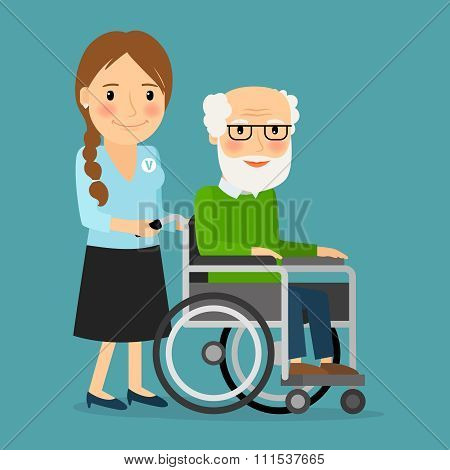 Volunteer pushing wheelchair with disabled old man