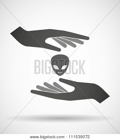 Two Hands Protecting Or Giving An Alien Face