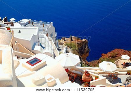 White Terrace Resorts And Sea, Oia , Santorini Island, Greece.