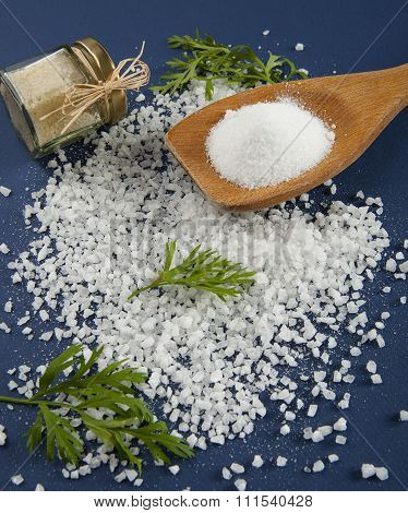 Fine Salt And Coarse Salt On A Blue Background.