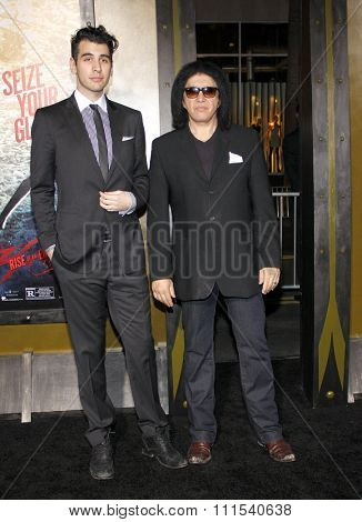 Gene Simmons and Nick Simmons at the Los Angeles premiere of