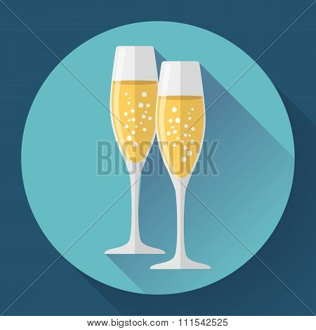 Two glasses of champagne. Icon in the flat style.