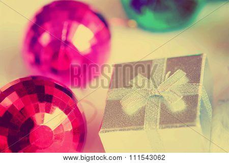 Christmas Gift box and mirror ball