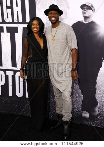 Dwyane Wade and Gabrielle Union at the Los Angeles premiere of 'Straight Outta Compton' held at the Microsoft Theatre in Los Angeles, USA on August 10, 2015.