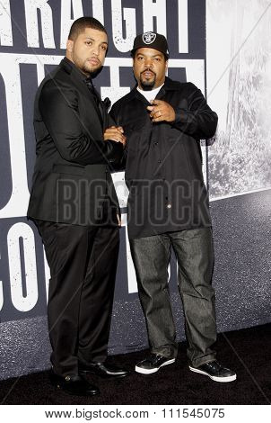 Ice Cube and O'Shea Jackson Jr. at the Los Angeles premiere of 'Straight Outta Compton' held at the Microsoft Theatre in Los Angeles, USA on August 10, 2015.
