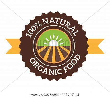 Natural eco organic product label badge vector icon