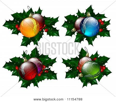 Christmas balls set with hollyberry