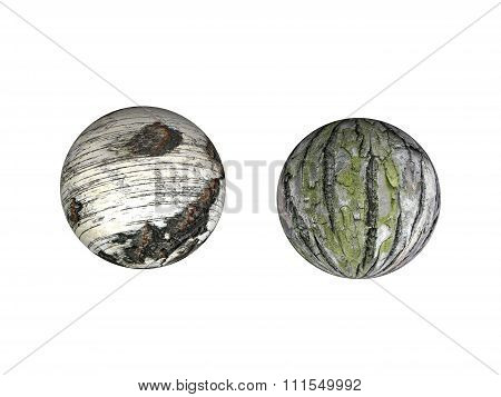 two spheres with texture of wood 3d