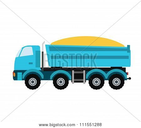 Building under construction tripper truck machine technics vector illustration