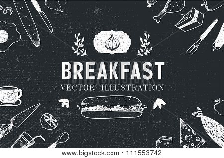 Vector breakfast, food hand drawn illustration, banner, menu cover, poster.
