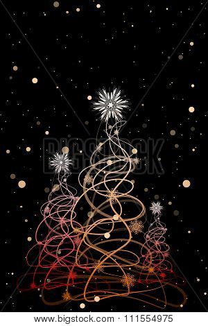Christmas Trees On A Balck Background With Snowflakes.vector