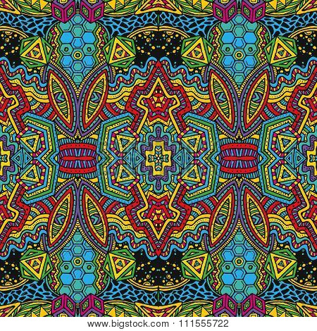 Colored Hand Drawn Psychedelic Zentangle Pattern.