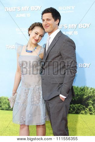Joanna Newsom and Andy Samberg at the Los Angeles premiere of 'That's My Boy' held at the Westwood Village Theater in Los Angeles, USA June 4, 2012.