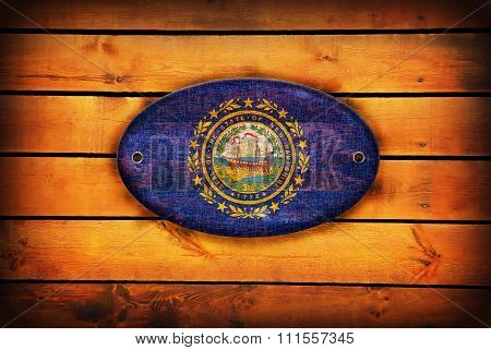Wooden New Hampshire Flag.