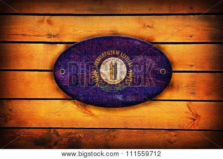 Wooden Kentucky Flag.