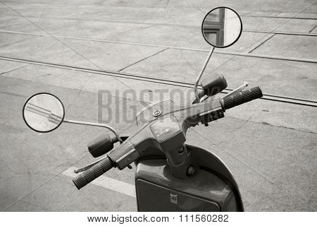 Old Italian Scooter Handlebar With Speedometer