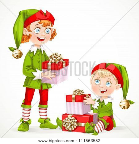 Cute New Year's Little Elfes Santa's Assistant With Gifts Isolated On A White Background