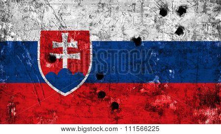 Flag of Slovakia, slovak flag painted on metal with bullet holes