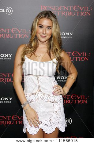 LOS ANGELES, CA - SEPTEMBER 12, 2012: Alexa Vega at the Los Angeles premiere of 'Resident Evil: Retribution' held at the Regal Cinemas L.A. Live in Los Angeles, USA on September 12, 2012.