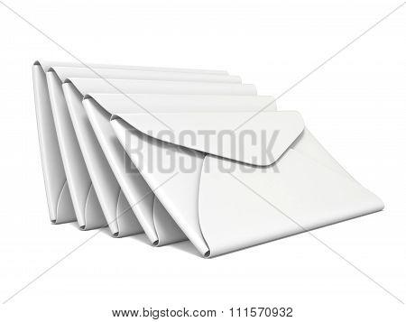Stack of white blank envelopes. 3D