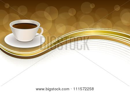 Abstract background coffee cup brown gold ribbon frame illustration vector