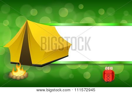 Background abstract green camping tourism yellow tent red backpack bonfire stripes frame