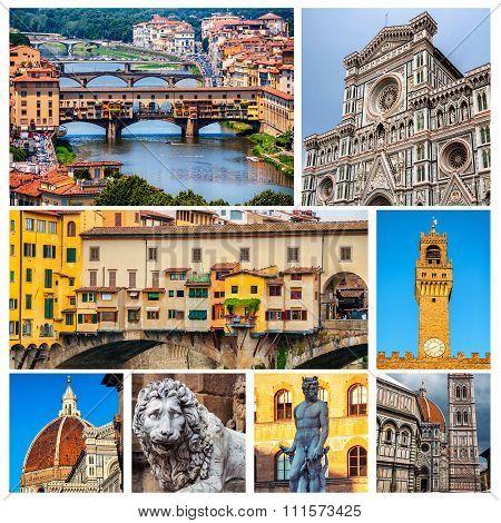 Set of Florence travel photos - landmarks of the city