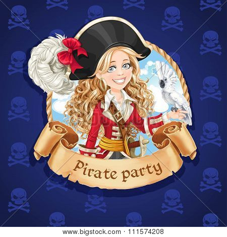 Cute Pirate Girl With Parrot. Banner For Pirate Party