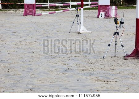 Infrared Devices Barriers Before Obstacle At Horse Jumping Competition