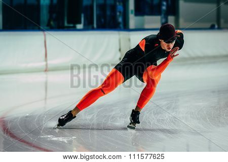 young man athlete skater warming up before race sprint distance