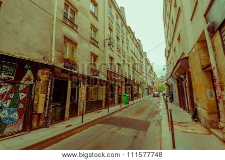 Beautiful typical narrow street in Paris, France
