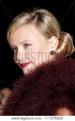 HOLLYWOOD, CA - DECEMBER 01, 2005: Charlize Theron at the World premiere of 'Aeon Flux' at the Cinerama Dome in Hollywood, USA on December 1, 2005.