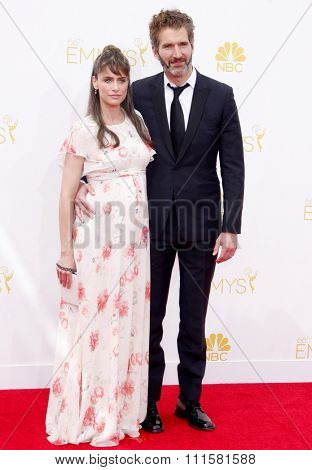 LOS ANGELES, CA - AUGUST 25, 2014: David Benioff and Amanda Peet at the 66th Annual Primetime Emmy Awards held at the Nokia Theatre L.A. Live in Los Angeles, USA on August 25, 2014.
