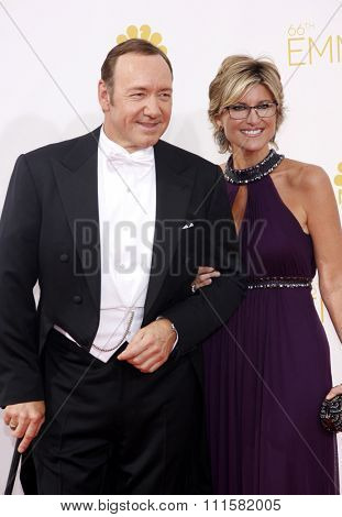 LOS ANGELES, CA - AUGUST 25, 2014: Ashleigh Banfield and Kevin Spacey at the 66th Annual Primetime Emmy Awards held at the Nokia Theatre L.A. Live in Los Angeles, USA on August 25, 2014.